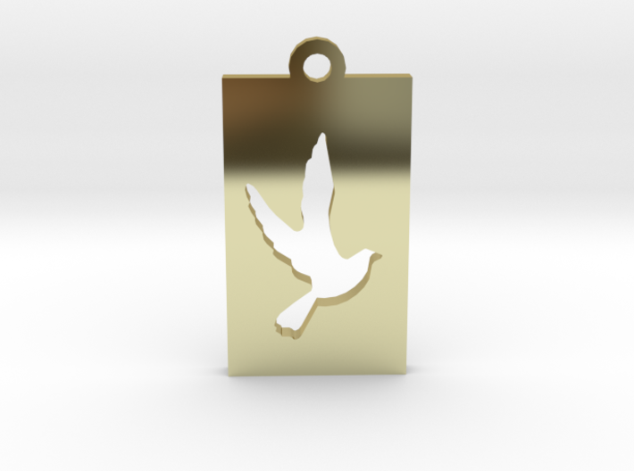 Rectangular Frame Pendant Dove Insert 3d printed