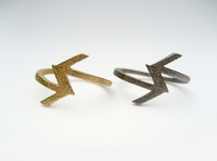 Arrow Ring (Size 7) 3d printed Polished Gold and Nickel Steel