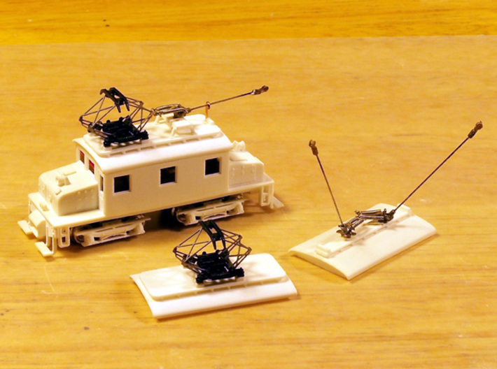 N Scale Baldwin-Westinghouse Steeplecab 3d printed Test print, mounted on the chassis, showing the three styles of roofs for pantographs and/or trolley poles