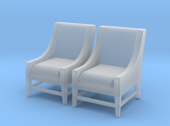 1:48 Contemporary Slipper Chair, Set of 2 3d printed