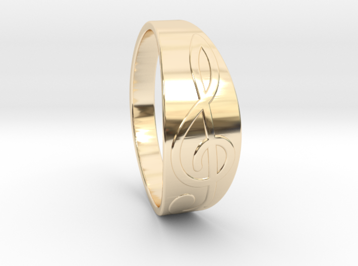 Size 9 M G-Clef Ring 3d printed