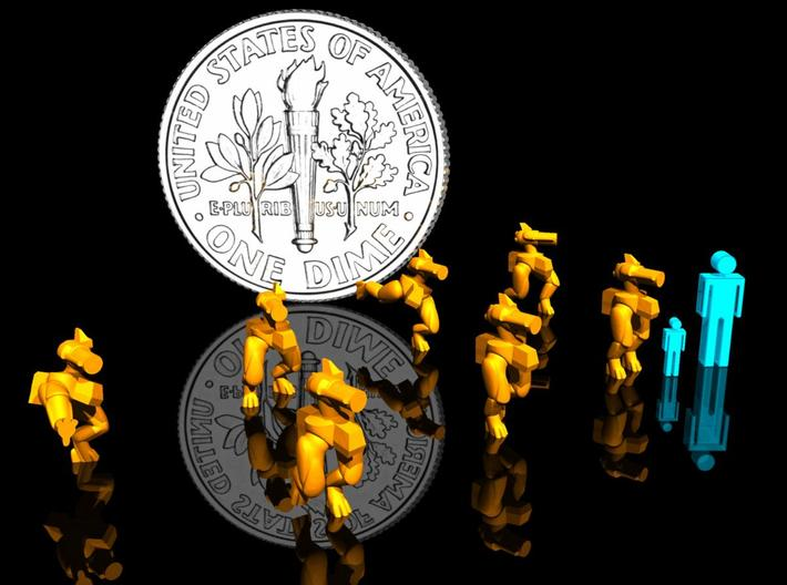 3mm/6mm BipedBots Mk5 3d printed Render with 3mm & 6mm scale figures for reference.
