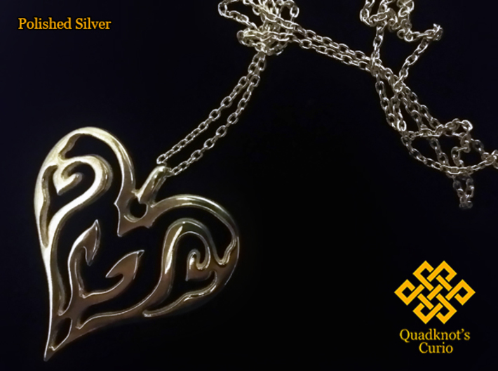 Sworn Heart 3d printed Silver works amazing with this design. However, chain isn't included.