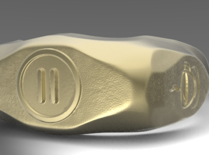"UK m size ""Pause"" ring, first edition. 3d printed front view"