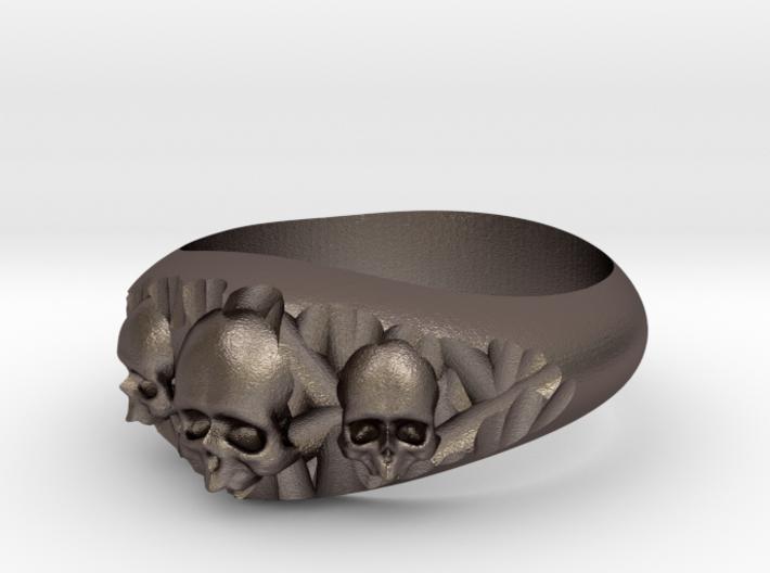 Cutaway Ring With Skulls Sz 7 3d printed