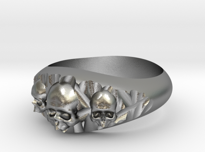 Cutaway Ring With Skulls Sz 8 3d printed