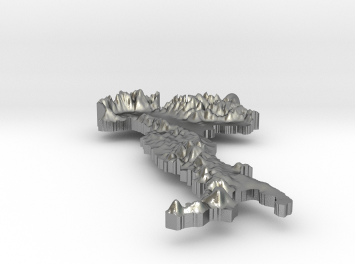 Italy Terrain Silver Pendant 3d printed