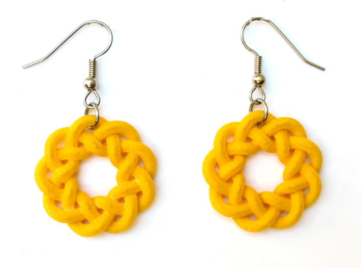 Woven Starburst Earrings - Large 3d printed Earrings printed in yellow strong and flexible, with stainless steel earwires added