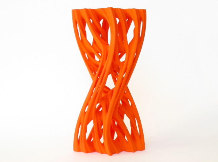 Julias Eye II 3d printed Front view, printed in orange Strong and Flexible