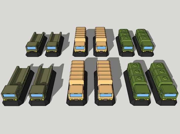 3mm Military GEV Cargo Trucks (12pcs) 3d printed