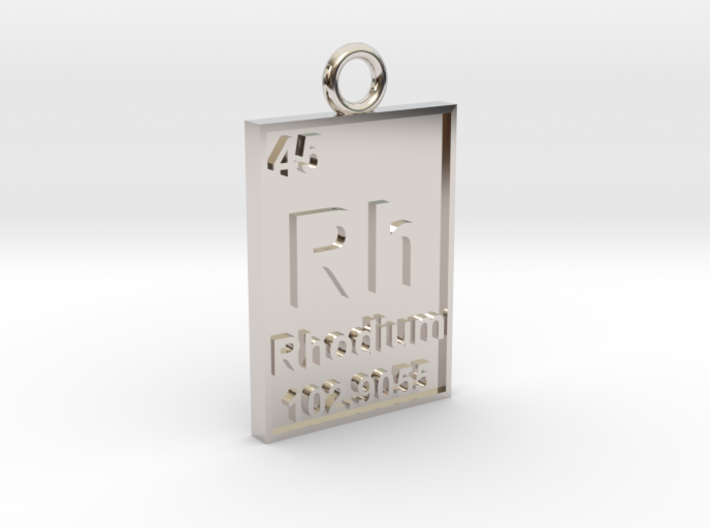 Rhodium Periodic Table Pendant 3d printed