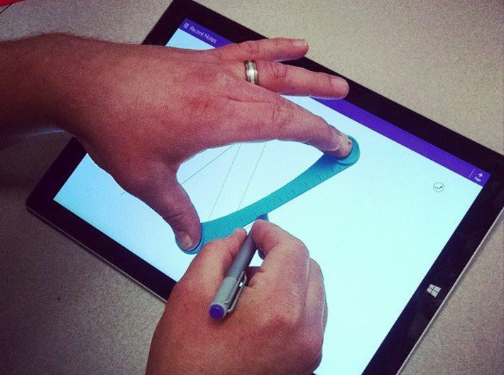 Touch-Screen Ruler Pro (Metric) 3d printed An earlier prototype in use.
