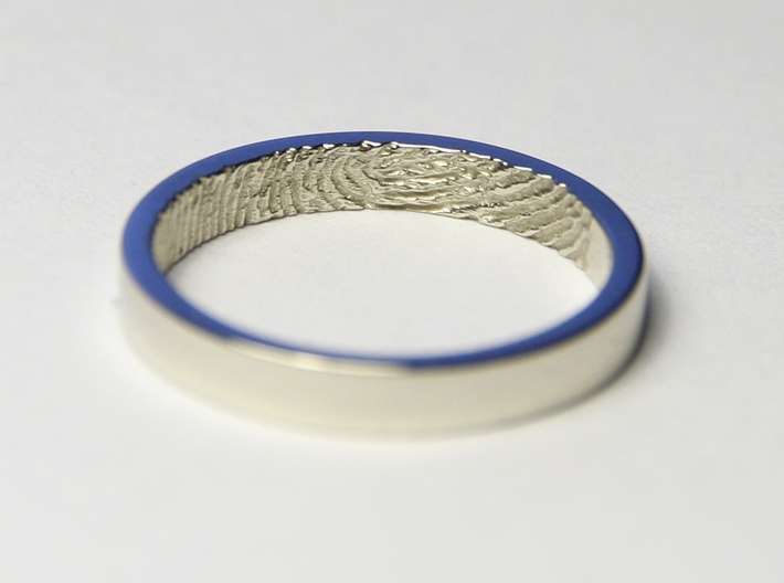"""Fingerprint Ring - Hers 3d printed The """"hers"""" 3mm fingerprint wedding ring, printed in beautiful 14k White Gold. Pictured ring is a US size 6 1/2 (16.92mm)"""