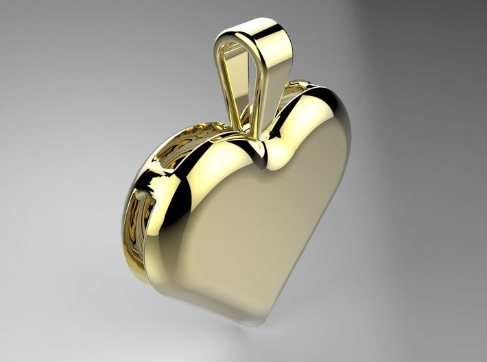Double heart pendant 3d printed A render in polished brass