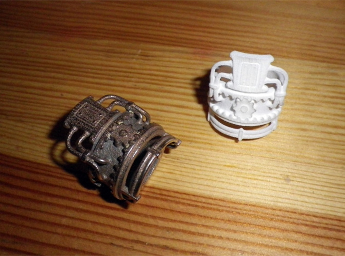 Steampower ring v2 3d printed Stainless steel + WSF