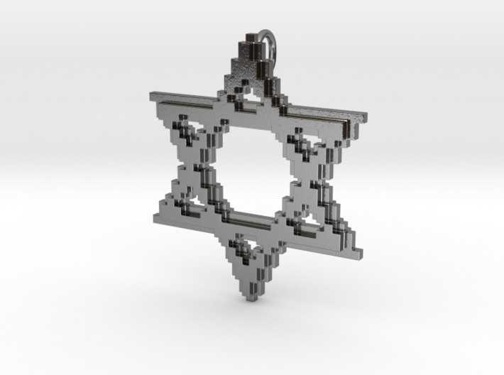 8-Bit Star of David pendant (big) 3d printed