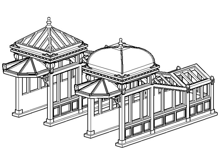 N Scale (1:160) Subway Kiosks (Set of 2) 3d printed Subway kiosks with protective cage removed.