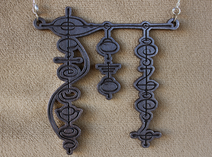 """""""Live Long and Prosper"""" Vulcan Script Pendant 3d printed Pictured: Polished Grey Steel"""