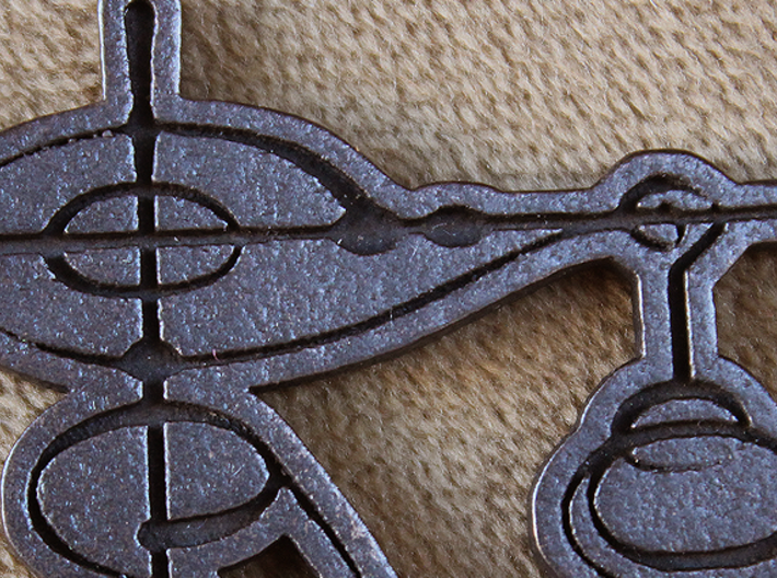 """Live Long and Prosper"" Vulcan Script Pendant 3d printed Detail shot. Pictured: Polished Grey Steel"