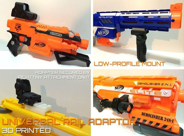 Nerf to Picatinny 20mm Rail Adapter  3d printed