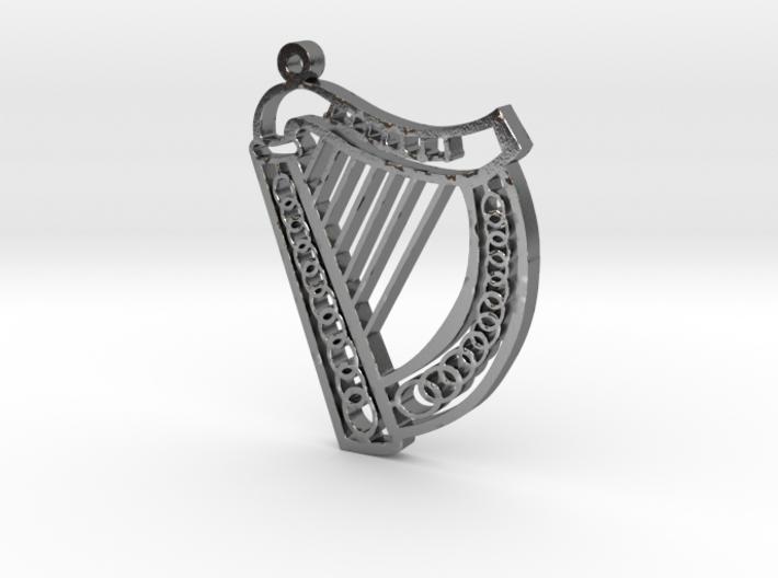 McGurran Irish Harp Pendant 3d printed