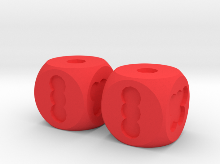 Two Hole Dice, Standard Size 16mm 3d printed