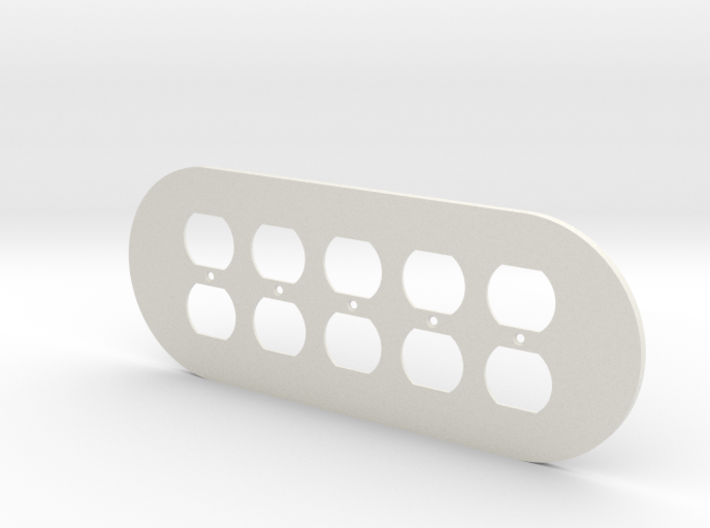 plodes® 5 Gang Duplex Outlet Wall Plate 3d printed