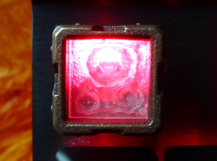 "Molten Metal Canister Cherry MX Keycap 3d printed Custom Cherry MX ""Molten Metal"" Keycap in Frosted Detail plastic and Matte Bronze Steel"