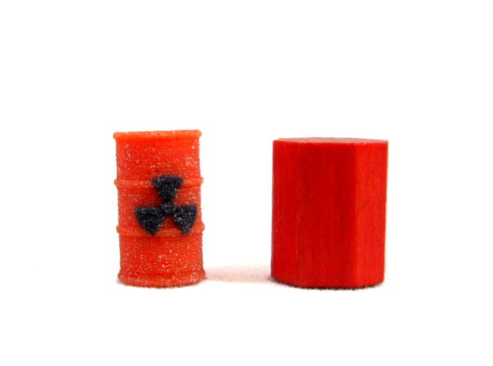 Radioactive Barrel, Red 3d printed Full Color Sandstone. Next to piece from game for sizing.