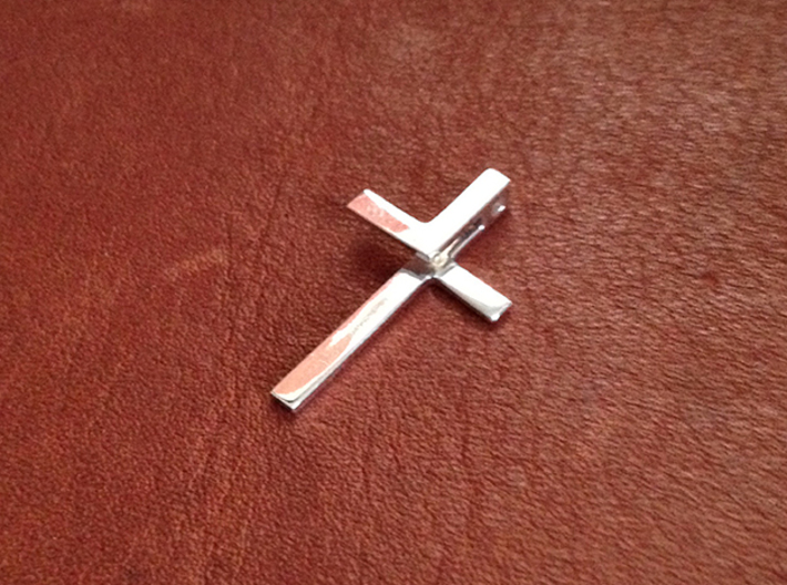 Folded Cross 3d printed Premium Silver
