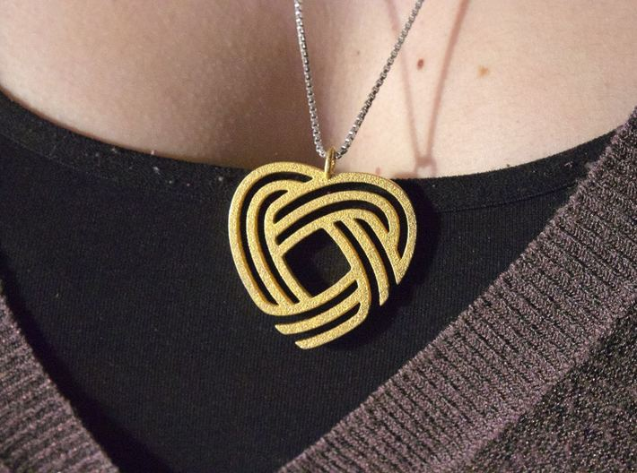 Simply Celtic Heart Necklace 3d printed Necklace in Polished Gold Steel