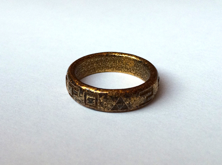 Hylian Hero's Band - 5mm Band - Size 5.5 3d printed Polished gold steel with antiquing