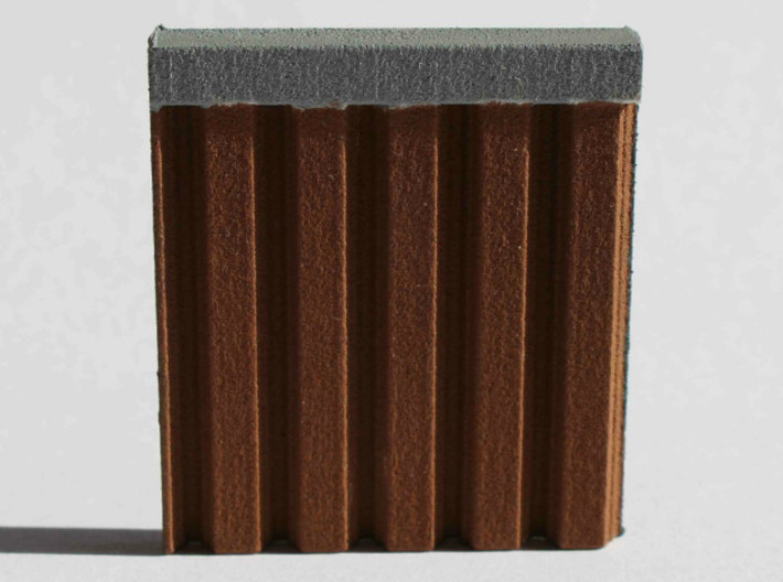 N Scale Bridge Abutment Sheet Piling (55mm) 3d printed Sample piece  of the sheet piling sheet painted brown to simulate corroded steel..