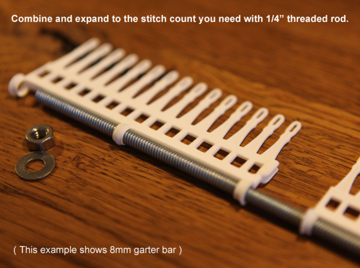 "30 tine knitting garter bar X 2 - 8mm v3 3d printed Expand with 1/4"" threaded rod"
