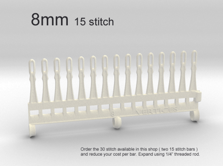 15 tine knitting garter bar - 8mm v3 3d printed 8mm - 15 stitch