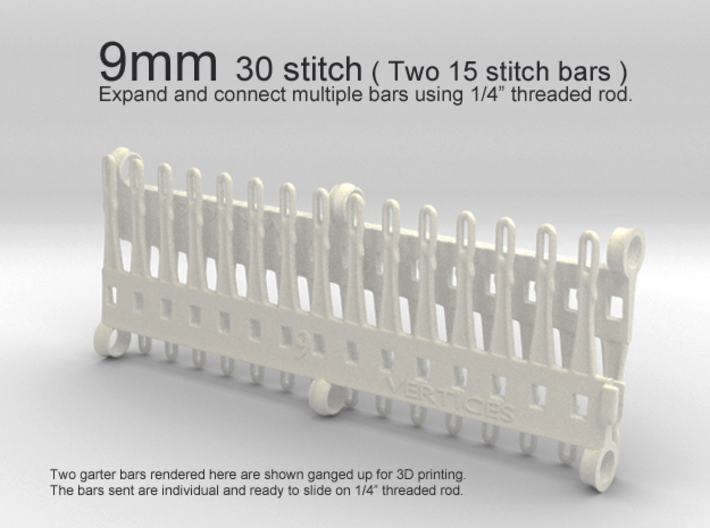 30 Tine Knitting Garter Bar X 2 - 9 mm V2.stl 3d printed 9mm - 30 stitch