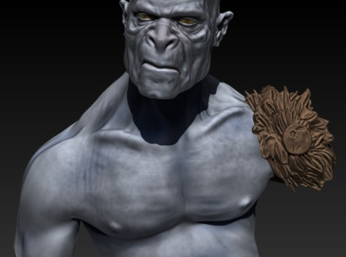 Orc bust 3d printed