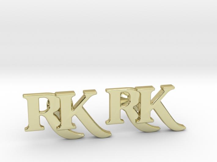 Monogram Cufflinks RK 3d printed