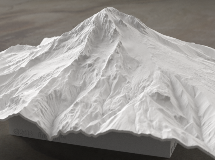 8'' Mt. Hood, Oregon, USA 3d printed Radiance rendering