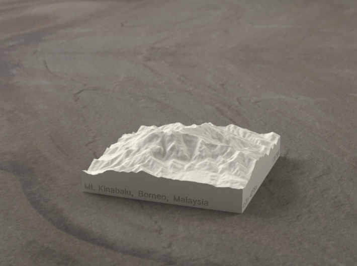 3''/7.5cm Mt. Kinabalu, Malaysia, Sandstone 3d printed Radiance rendering of Kinabalu from the South