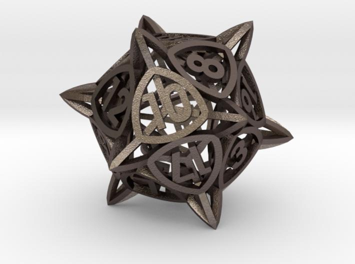 'Center Arc' dice, D20 balanced gaming die 3d printed