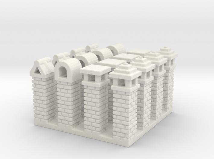 Rustic Italian Chimneys (16) N Scale 3d printed