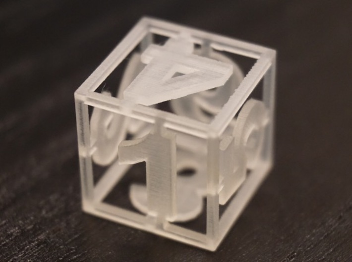 Two See-through Dice 3d printed