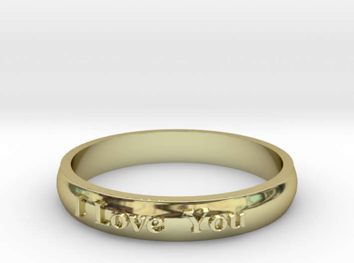 "Ring 'I Love You' - 16.5cm / 0.65"" - Size 6 3d printed"