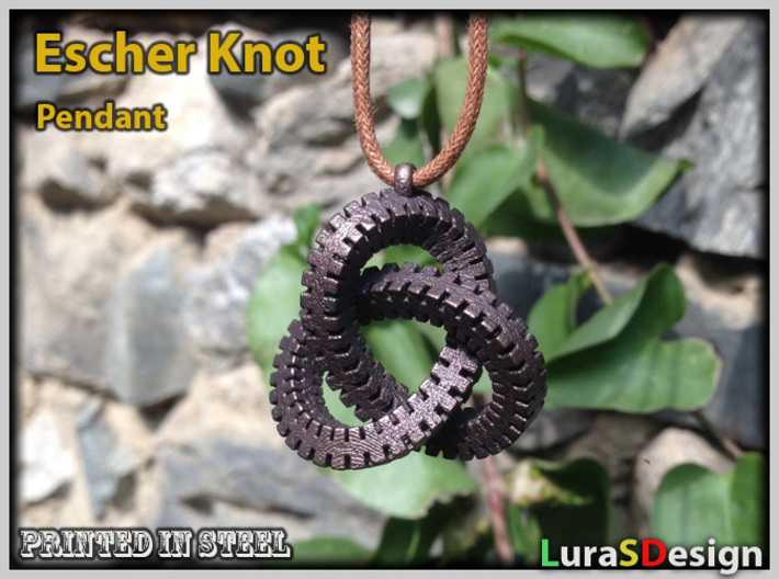 Escher Knot Pendant 3d printed Matte Bronze Steel on 2mm cord