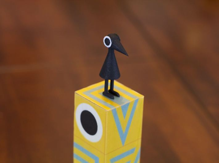 Crow Person (standing) 3d printed Black plastic after eye painted on