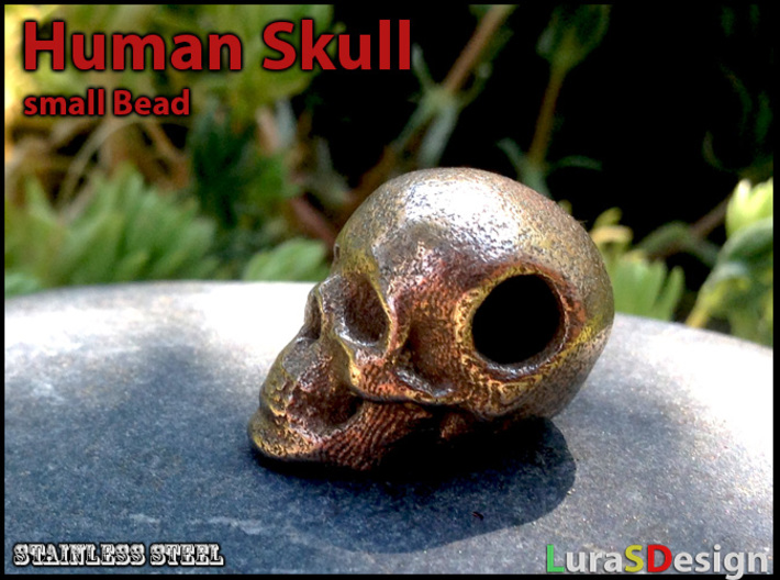 Human Skull Bead - small 3d printed printed in Stainless Steel
