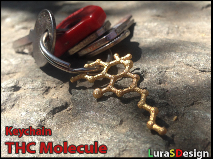 THC Molecule Keychain 3d printed smaller previous version in gold steel