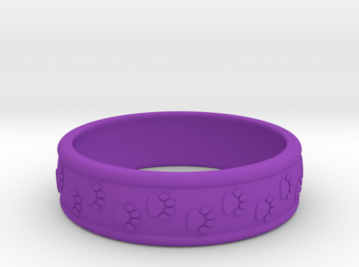 Size 8 Pet Paw Ring A 3d printed