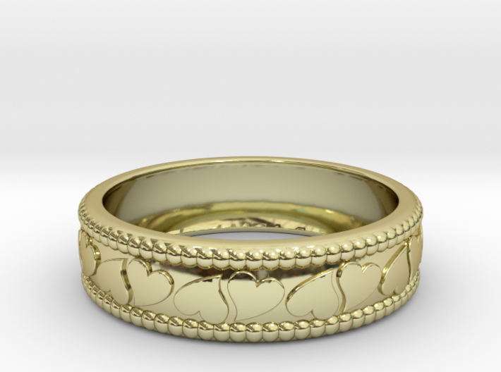 Size 10 Hearts Ring 3d printed